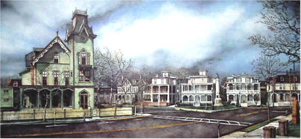 A View of Columbia Avenue Santoleri limited Edition Print from Watercolor Painting