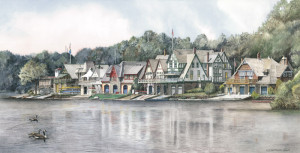 Boathouse Row 6 Santoleri limited Edition Print from Watercolor Painting