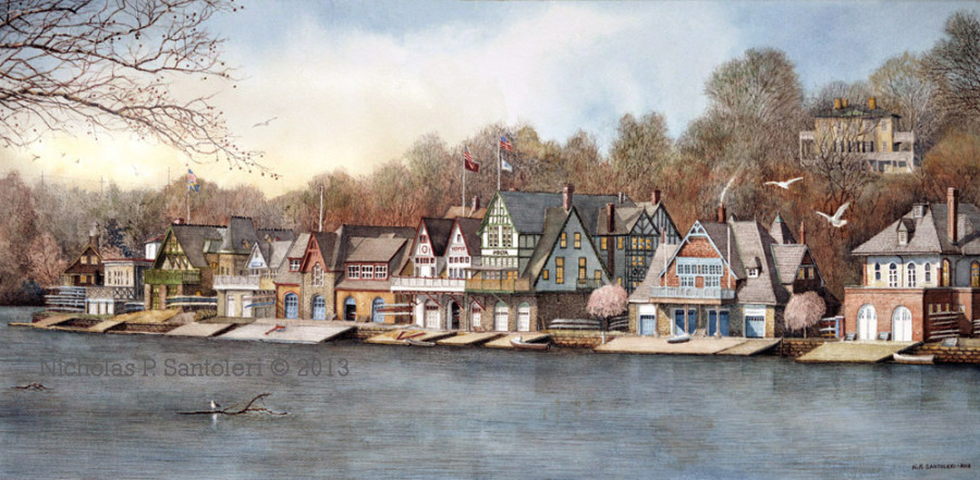 Boathouse Row 7 painting by N. Santoleri © 2013