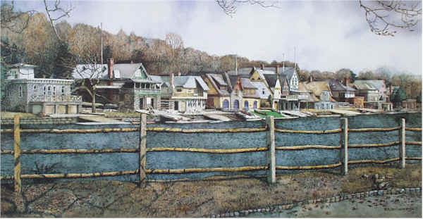 Boathouse Row 4 Santoleri limited Edition Print from Watercolor Painting