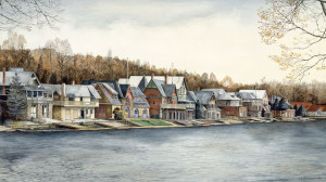 Boathouse Row by N. Santoleri limited Edition Print from Watercolor Painting