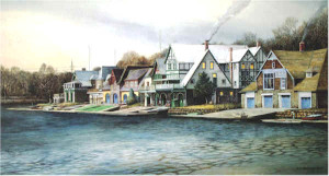 """Boathouse Row 2"" by N. Santoleri limited Edition Print from Watercolor Painting"