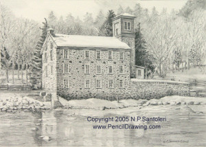 Brecks Mill Pencil pencil drawing by Nick Santoleri