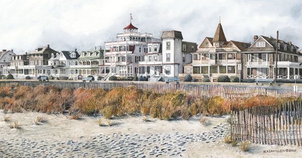 Beach Drive Cape May Santoleri limited Edition Print from Watercolor Painting