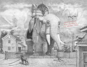 Open Edition Prints of Lucy The Elephant Pencil Drawing by Nick Santoleri
