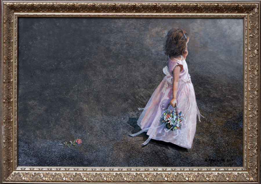 Flower Girl - Acrylic Paintings by N. Santoleri