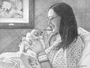 "Open Edition Prints of ""Frances and Fiona"" Pencil Drawing by Nick Santoleri"