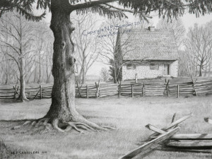 Open Edition Prints of Hans Herr House pencil drawing by Santoleri