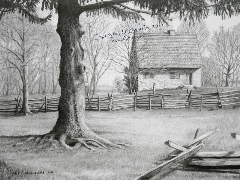 Prints of Hans Herr House pencil drawing by Santoleri