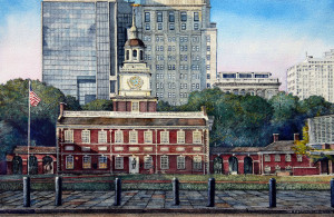 Independence Hall 3 by Santoleri limited edition prints from watercolor painting