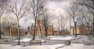 Independence Hall Santoleri limited Edition Print from Watercolor Painting
