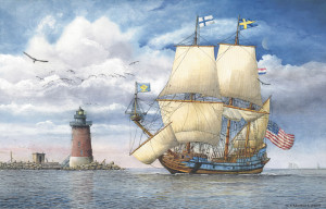 Kalmar Nyckel Under Sail by Santoleri limited edition prints from watercolor painting