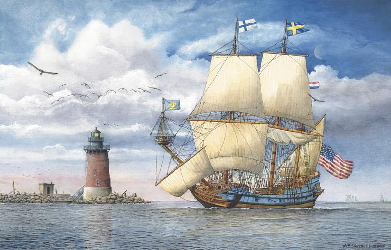 Kalmar Nyckel Under Sail Watercolor Paintings by N. Santoleri