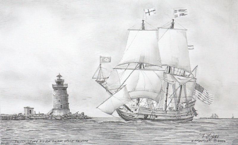 Kalmar Nyckel Study 1- Pencil by N. Santoleri