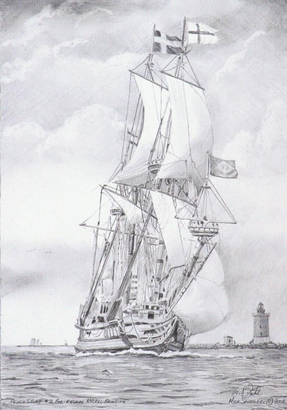 Kalmar Nyckel Study 2- Pencil by N. Santoleri