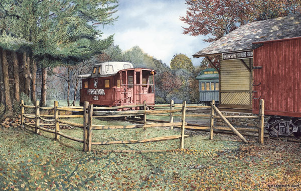 Newtown Square Train Station by Santoleri limited edition prints from watercolor painting