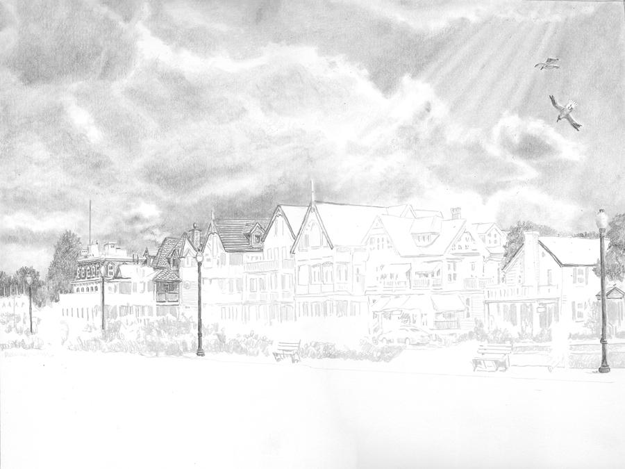 Ocean Pathway pencil drawing by Nick Santoleri in progress 02