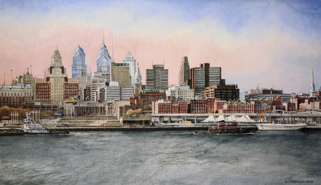 Philadelphia Skyline Santoleri limited Edition Print from Watercolor Painting
