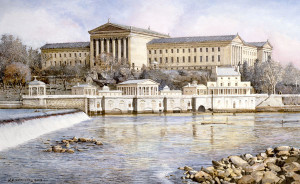 Philadelphia Waterworks Santoleri limited Edition Print from Watercolor Painting