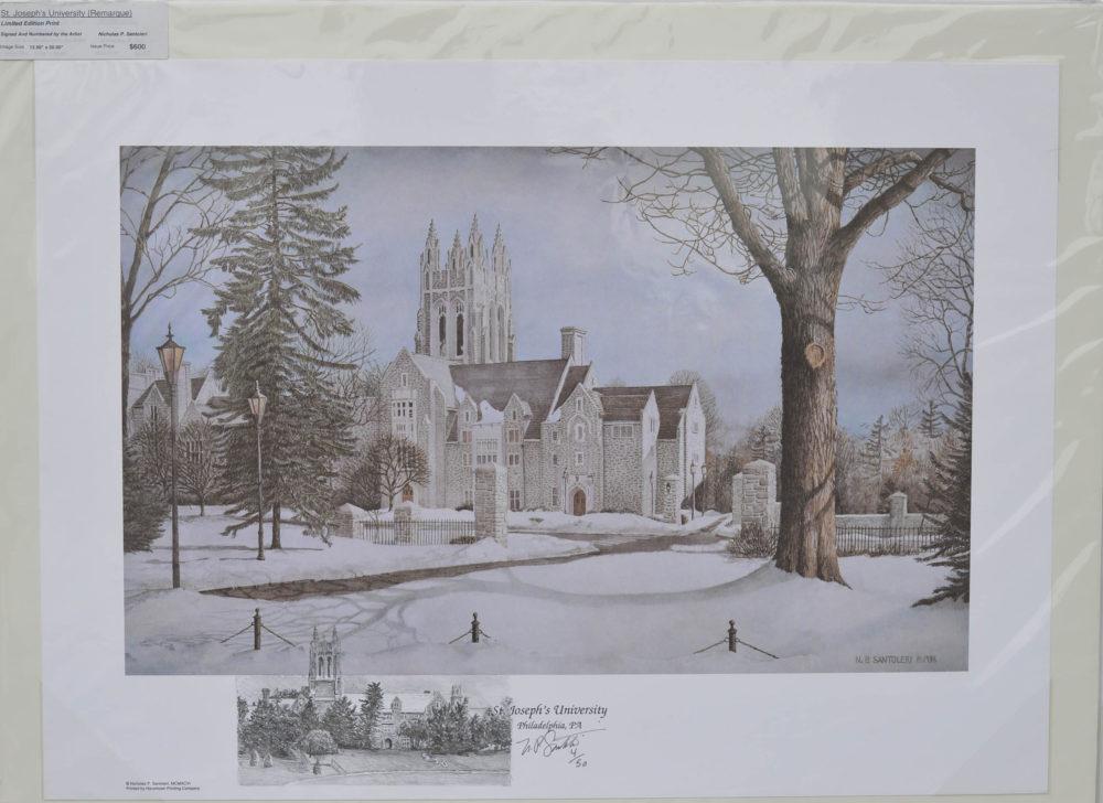Saint Josephs University Remarqued Print by Santoleri