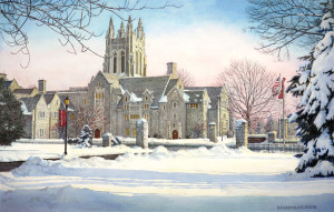 """Saint Josephs University 3"" Watercolor Paintings by N. Santoleri"