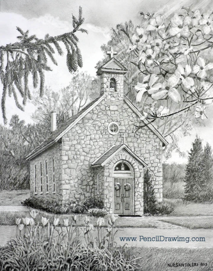 Open Edition Prints of Saint Mary's Chapel Drawing by Santoleri
