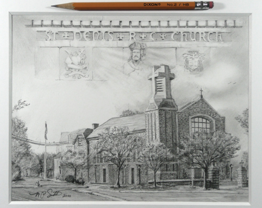Saint Denis Church- Pencil by N. Santoleri