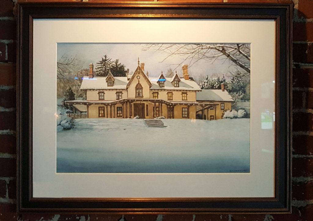 The Grange Estate Original Watercolor by Nicholas Santoleri Framed