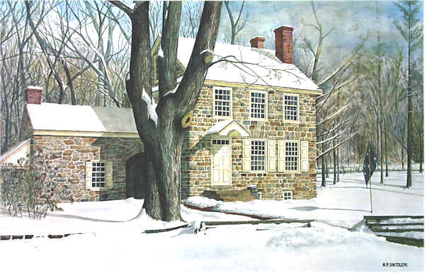 Washingtons Headquarters in Valley Forge Santoleri limited Edition Print from Watercolor Painting