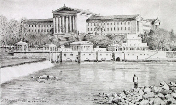 Philadelphia Waterworks pencil study by Nick Santoleri