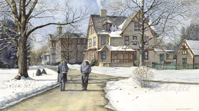 Winter Walk to Class - Watercolor by N. Santoleri - Williamson Free School of Mechanical Trades