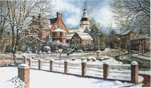 Winter in Annapolis Santoleri limited Edition Print from Watercolor Painting