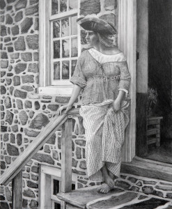 Open Edition Prints of Woman With Tricorner Hat pencil drawing by Santoleri 2013