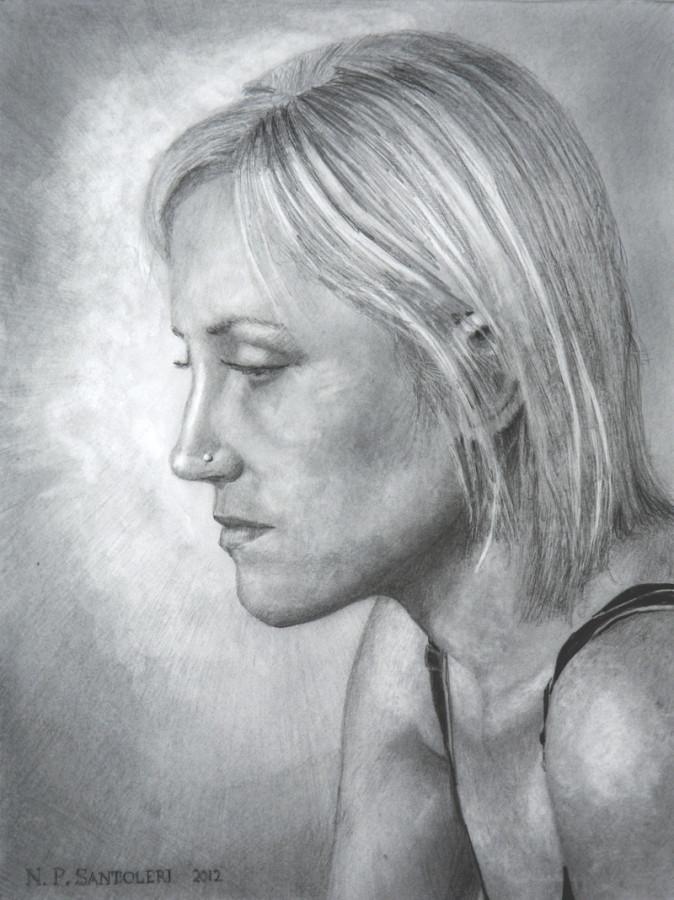 """Contemplation"" pencil drawing by N. Santoleri"