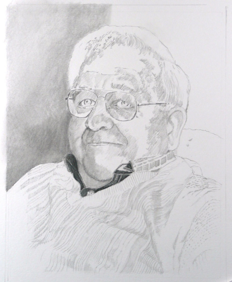 """Artist's Father"" pencil drawing by N. Santoleri"