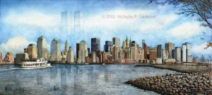 Open Edition Prints of New York City Skyline watercolor painting by Santoleri