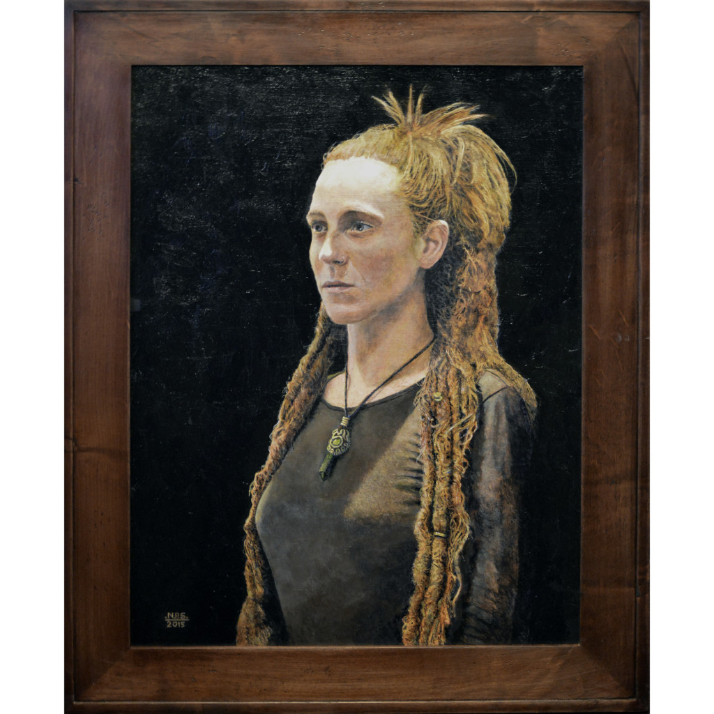 """Dreadlocks"" Acrylic Painting on Panel 2015 by Nicholas P. Santoleri - Oil and Acrylic Portraits"