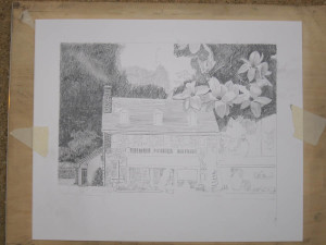 La Locanda restaurant drawing in progress 01 by N. Santoleri