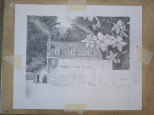 La Locanda restaurant drawing in progress 02