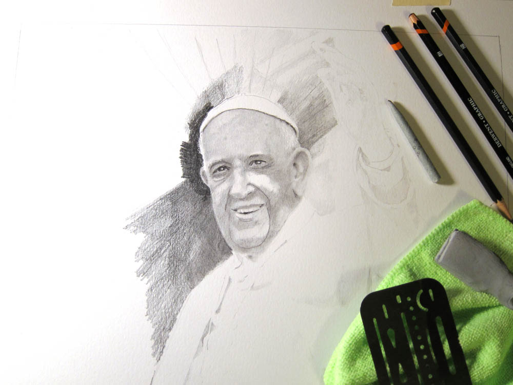 Pope Francis Drawing in Progress 01 by Santoleri