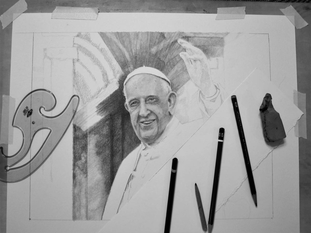 Pope Francis Drawing in Progress 02 by Santoleri