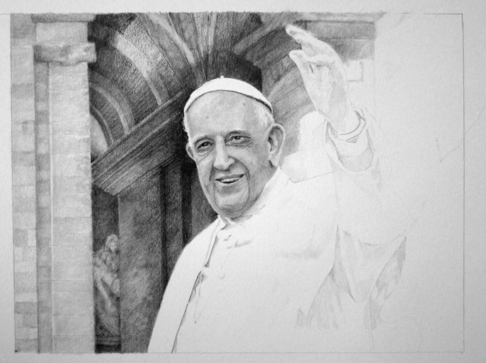 Drawing Pope Francis in Progress 03 by Santoleri