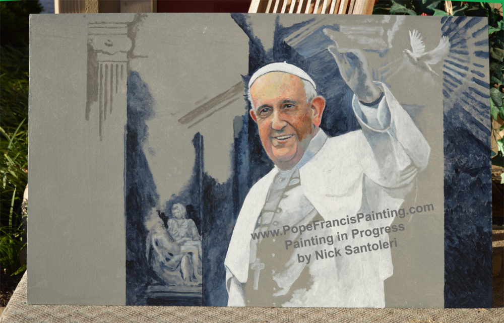Pope Francis Painting in progress - Acrylic Paintings by N. Santoleri