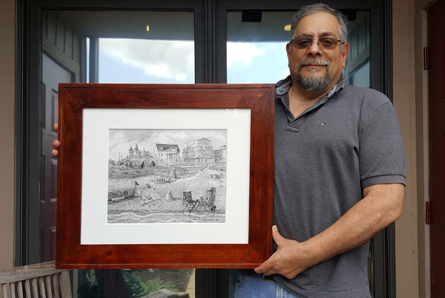Cape May Castles Framed Pencil Drawing by Nick Santoleri