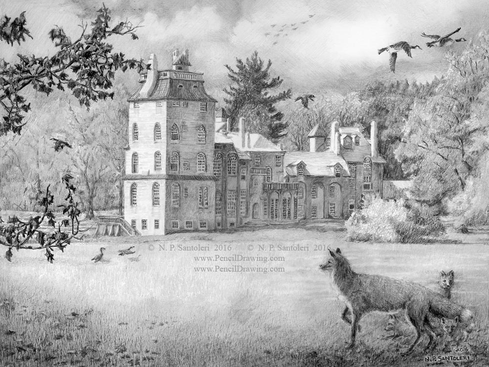 Fonthill Castle Pencil Drawing by Santoleri