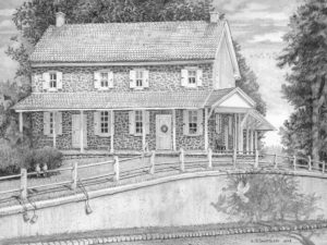 Open Edition Prints of Newtown Square Quaker Meeting Pencil Drawing by Nick Santoleri