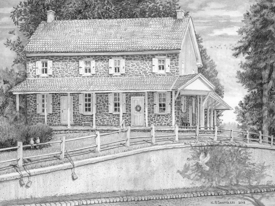 Newtown square quaker meeting pencil drawing by santoleri