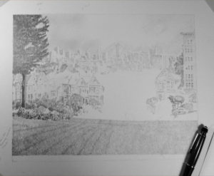 A view from Alamo Square early in progress
