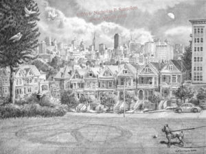 Open Edition Prints of View from Alamo Square Pencil Drawing by Nick Santoleri