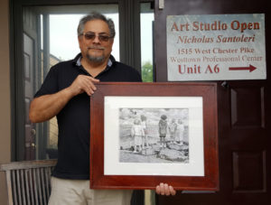 Special Delivery - Pencil Drawing Framed by Nick Santoleri